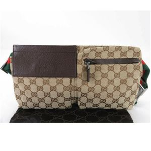 AUTH GUCCI GG SHERRY CANVAS LEATHER BUM BAG WAIST